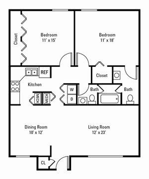 2 Bedroom, 1.5 Bath 1,168 sq. ft.