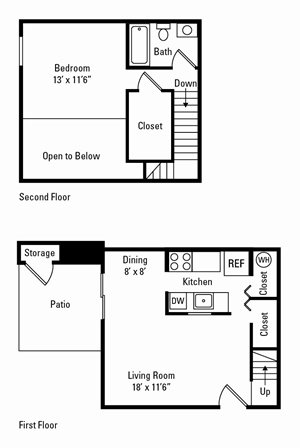 1 Bedroom, 1 Bath Loft 700 sq. ft.