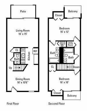2 Bedroom, 2.5 Bath Townhome 1,200 sq. ft.