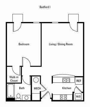 1 Bedroom, 1 Bath 783 sq. ft. (Bedford)