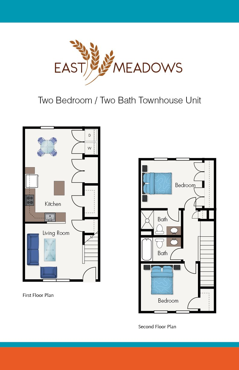 Two Bed Two Bath Townhouse Floor Plan 3