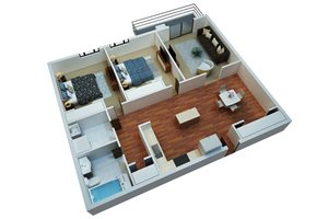 Two Bedroom One Bath/B4-Simply Modern