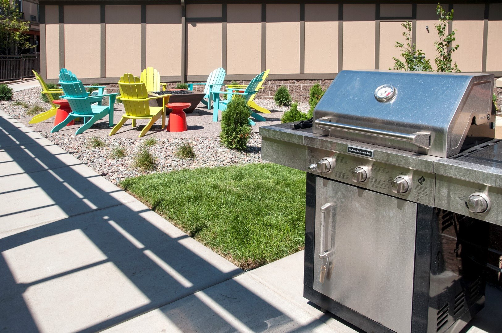 Picnic and BBQ Area at 5 Central Apartments, Osseo, MN,55369