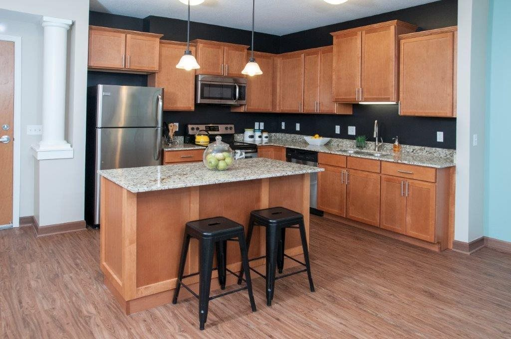 Two Cabinet Options - Espresso or Nutmeg at 5 Central Apartments, Osseo, MN