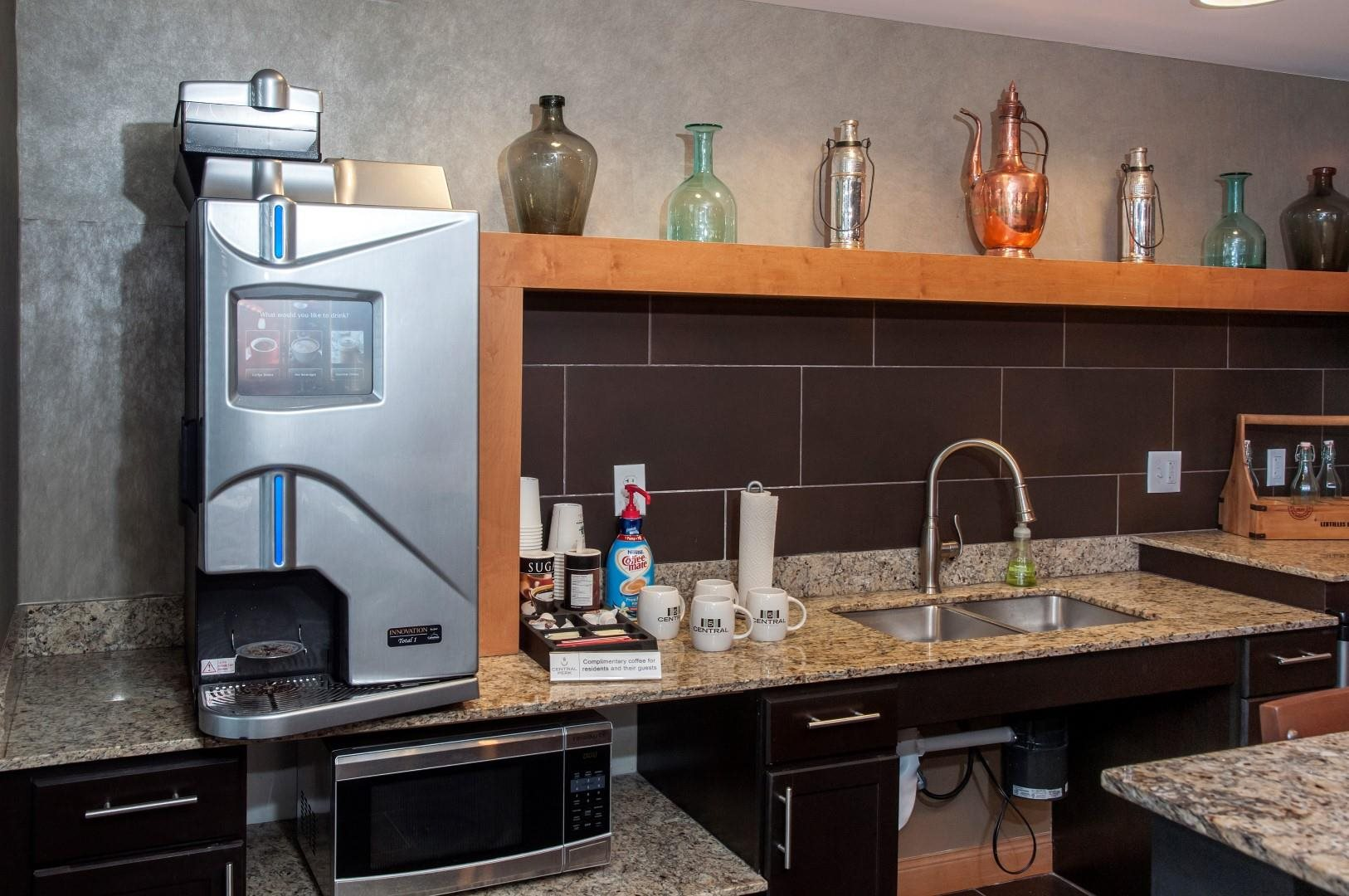 Complimentary Coffee Bar at 5 Central Apartments, Minnesota, 55369
