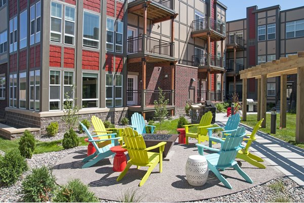 Beautiful Courtyard Sitting at 5 Central Apartments, Osseo, MN,55369