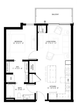 Elements of Linden Hills in Minneapolis,MN A2a (A2d SIM)-673 sf
