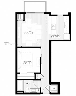 Zest Apartments in Minneapolis, MN S1 (642sq)