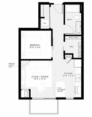 Zest Apartments in Minneapolis, MN S2 (618sq)