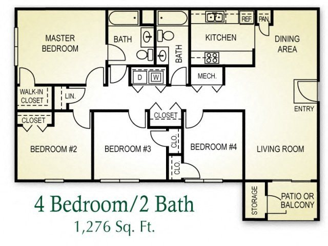4 Bedroom Floor Plan 4