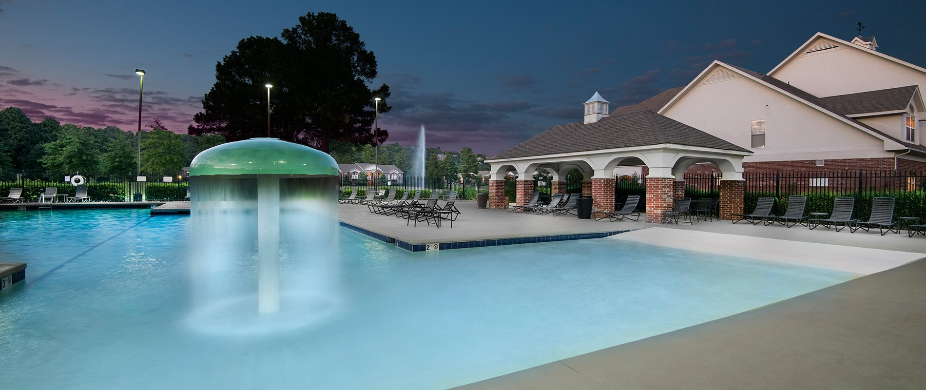 Walk-In Resort Style Swimming Pool with Mushroom Fountain Poolside Cabana at The Links at Cadron Valley, Conway