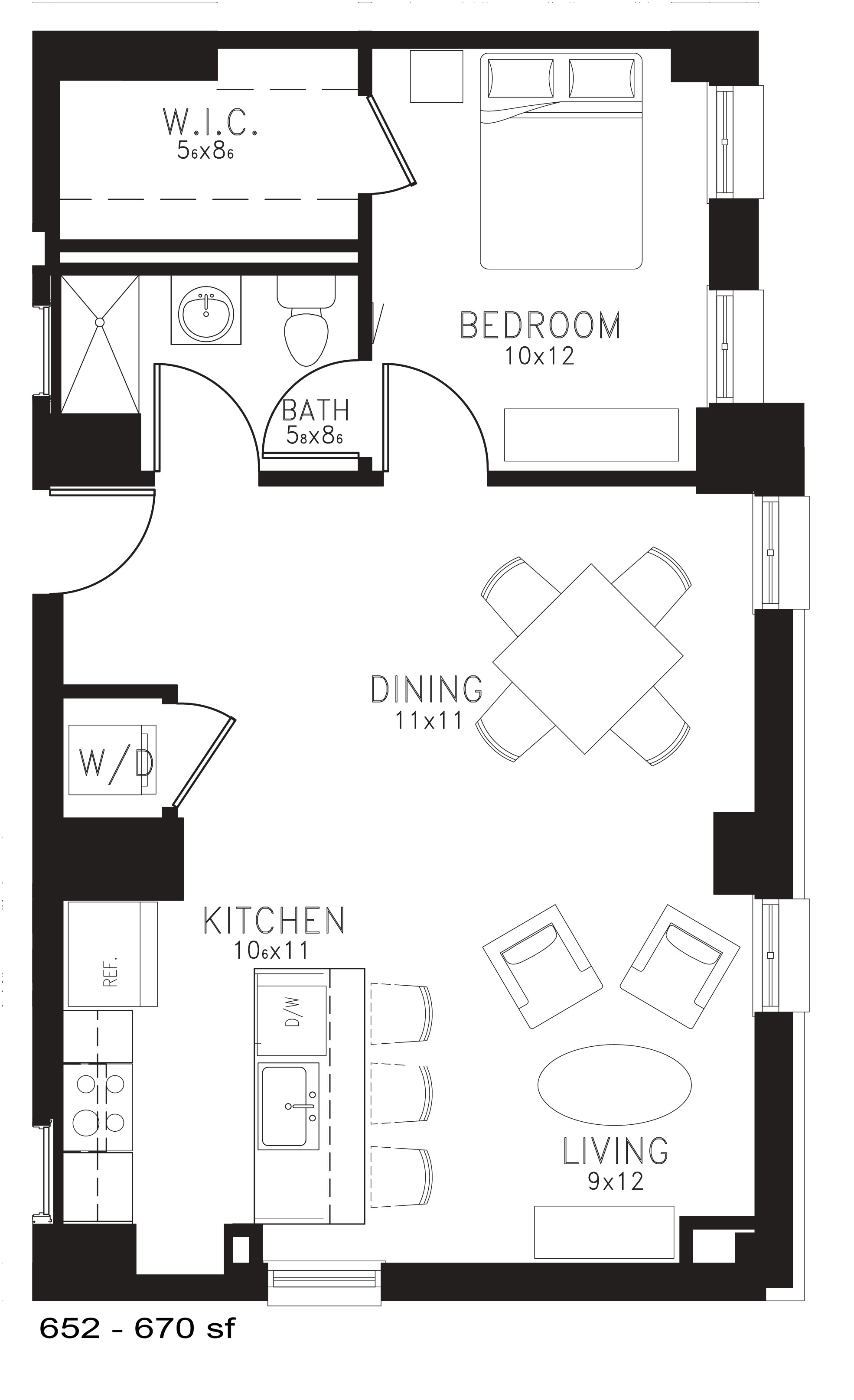 The Zeppelin Floor Plan at Thomas Jefferson Tower 1 bedroom x1 bathroom