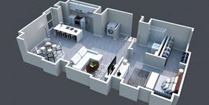 The Zeppelin Floor Plan at Thomas Jefferson Tower 1 bedroom x1 bathroom
