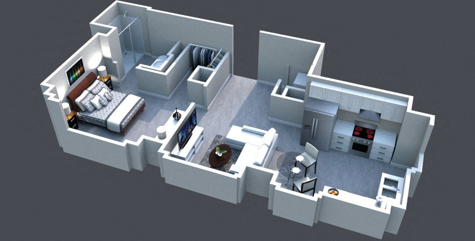 The Cabana Floor Plan Thomas Jefferson Tower 490 Square Ft 1 bedroom x1 bathroom