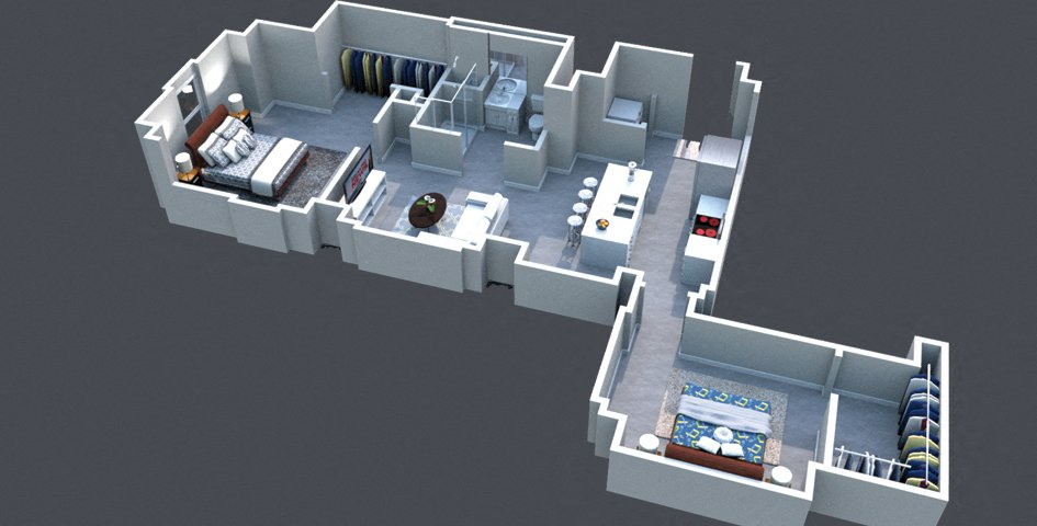 The Grand Floor Plan Thomas Jefferson Tower 2 bedroom x1 bathroom