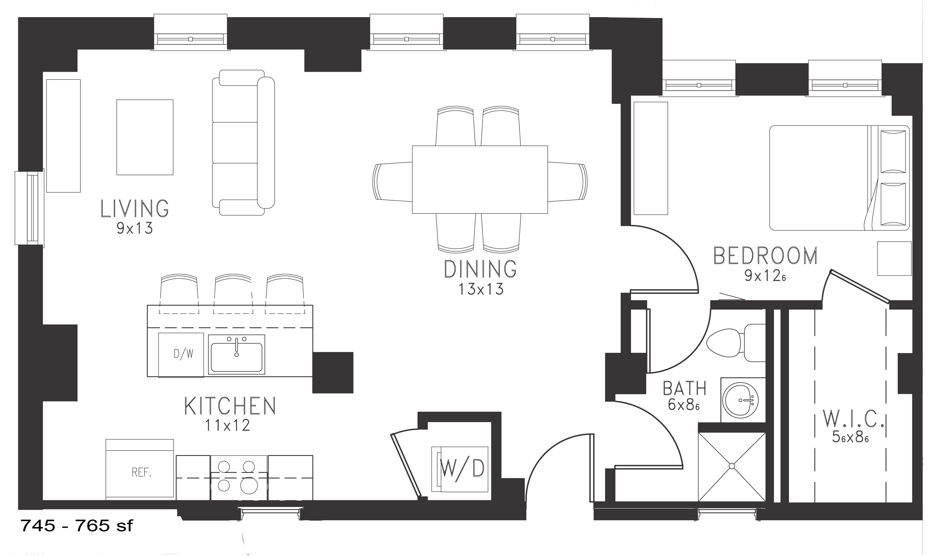 The Charles Floor Plan Thomas Jefferson Tower 1 bedroom x1 bathroom