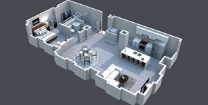 The Charles Floor Plan Thomas Jefferson Tower 1 bedroom x1 bathroom