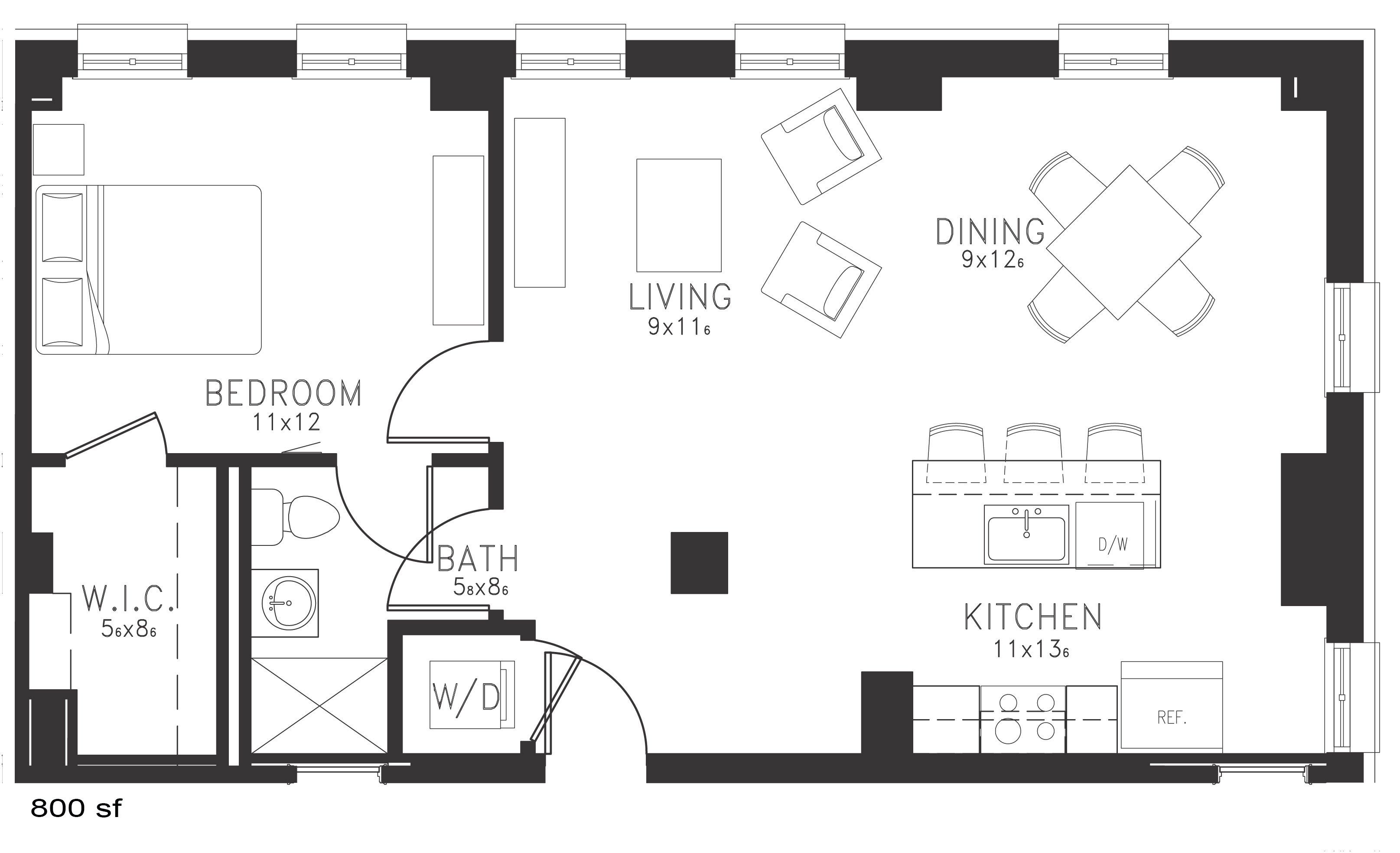 The Leer Floor Plan Thomas Jefferson Tower 1 bedroom x1 bathroom