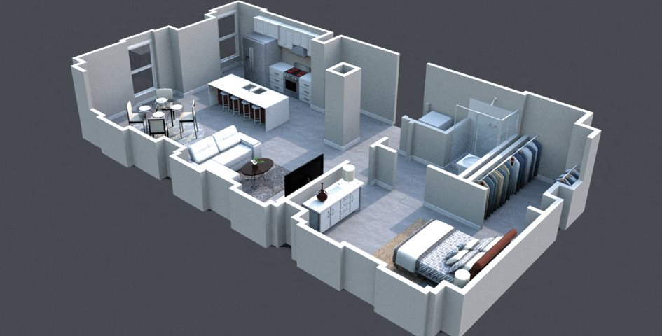 The Leer Floor Plan Thomas Jefferson Tower apartments in birmingham, al 1 bedroom x1 bathroom
