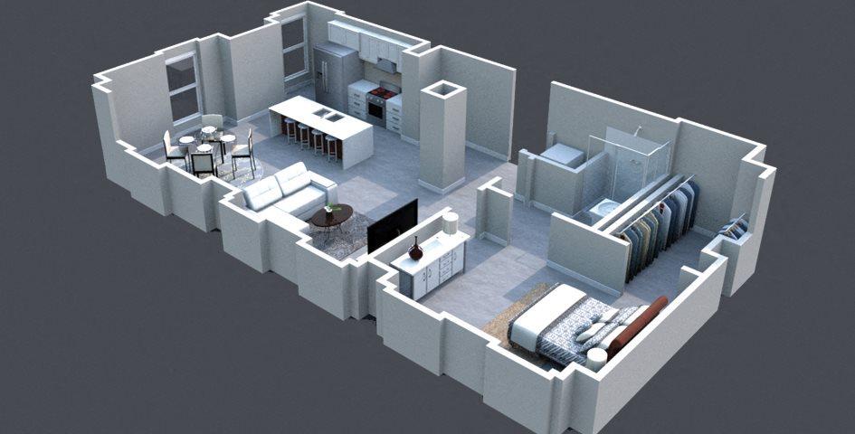 The Leer Floor Plan Thomas Jefferson Tower 1 bedroom x1 bathroom