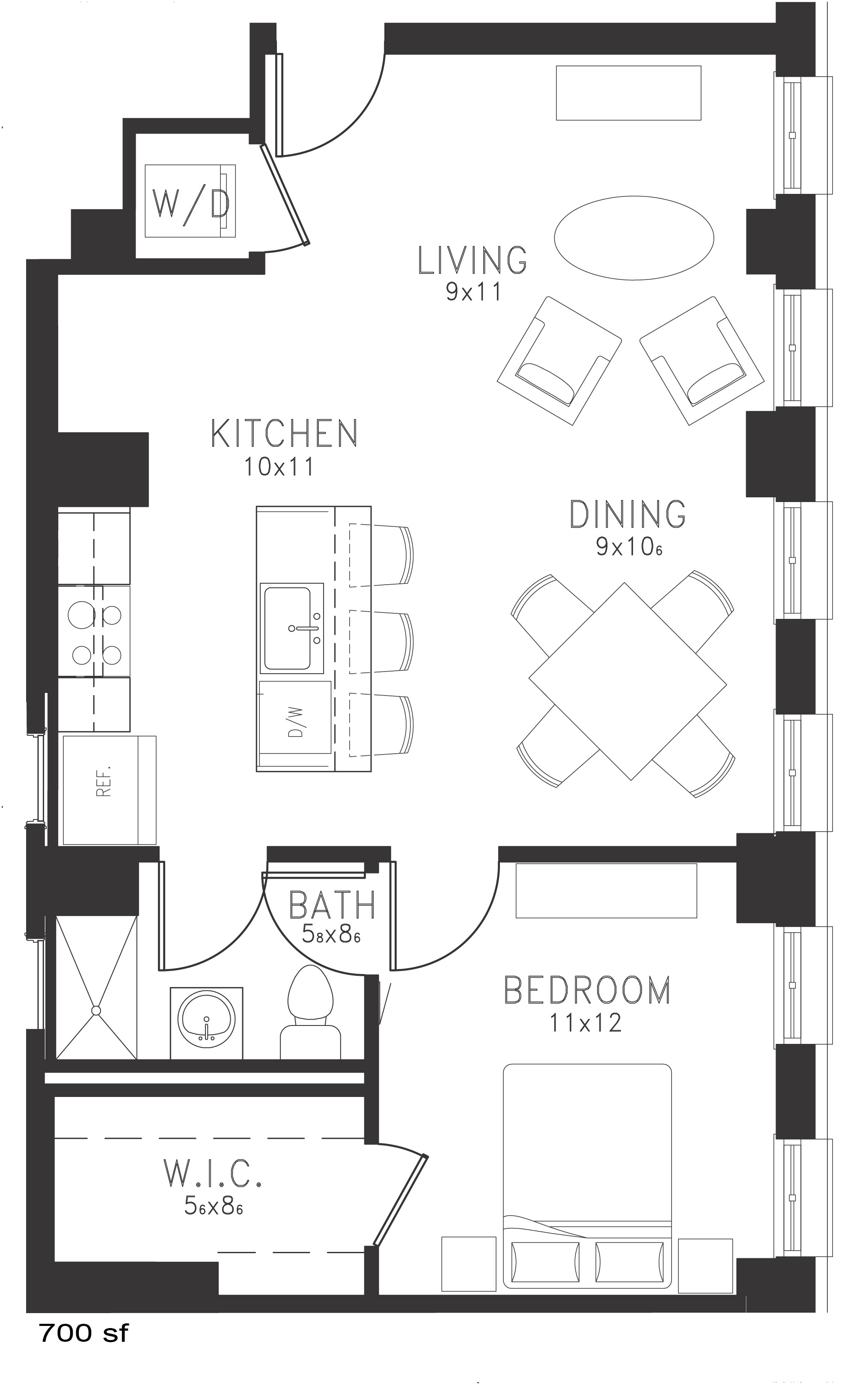 The Monroe Floor Plan at Thomas Jefferson Tower 1 bedroom x1 bathroom