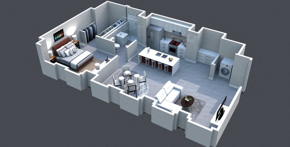 The Monroe Floor Plan at Thomas Jefferson Tower 1 bedroom x1 bathroom