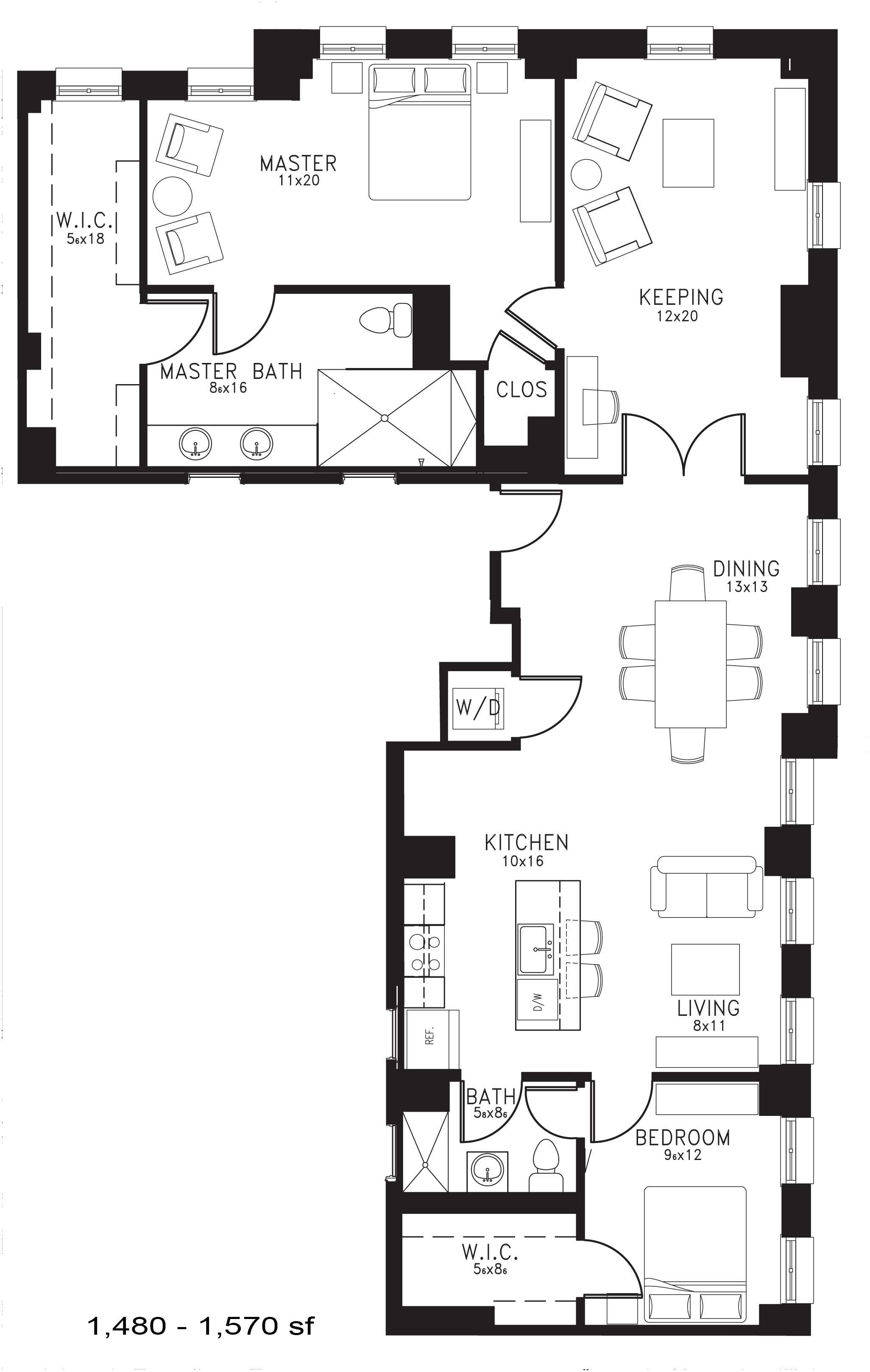 The Bryant Floor Plan at Thomas Jefferson Tower 2 bedroom x 2 bathroom