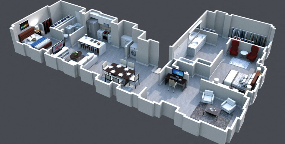 The Bryant Floor Plan at Thomas Jefferson Tower 2 bedroom x 2 bathroom