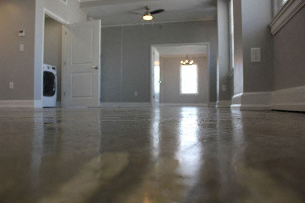 Polished Concrete floor in studio apartment