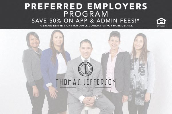 Thomas Jefferson Tower preferred employers program discount fees Birmingham apartments, 35203