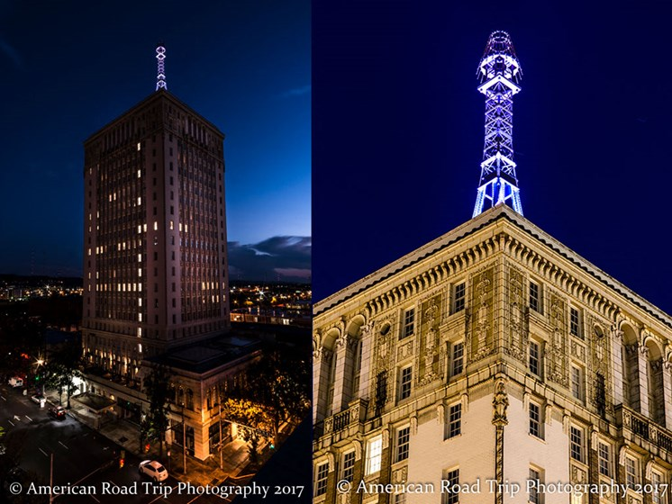 Thomas Jefferson Tower Apartments in Birmingham, AL 35203 illuminated Mooring Mast