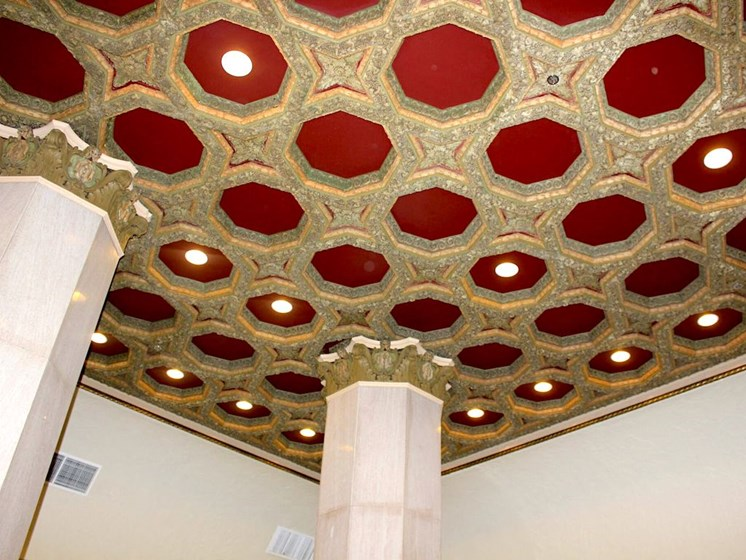 red and gold ceiling restored ceiling at Thomas Jefferson Tower apartments in Birmingham, AL