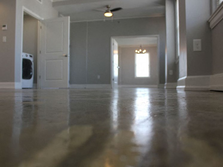 Polished concrete flooring in Thomas Jefferson Tower Apartment homes in birmingham