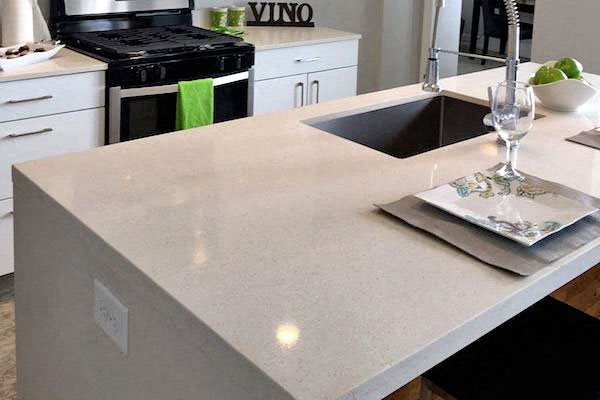 Quartz countertops & Island in Thomas Jefferson Tower apartment in birmingham, al 35203 kitchen