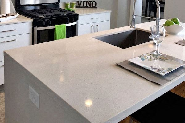 quartz countertops in kitchen and kitchen island