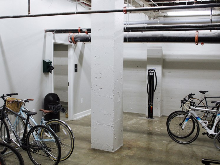 Thomas Jefferson Tower apartments in Birmingham, AL 35203 new bike shop and storage area