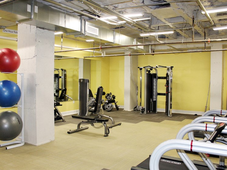Thomas Jefferson Tower apartments in Birmingham, AL 35203 new 24-hour fitness center with cardio and weight equipment