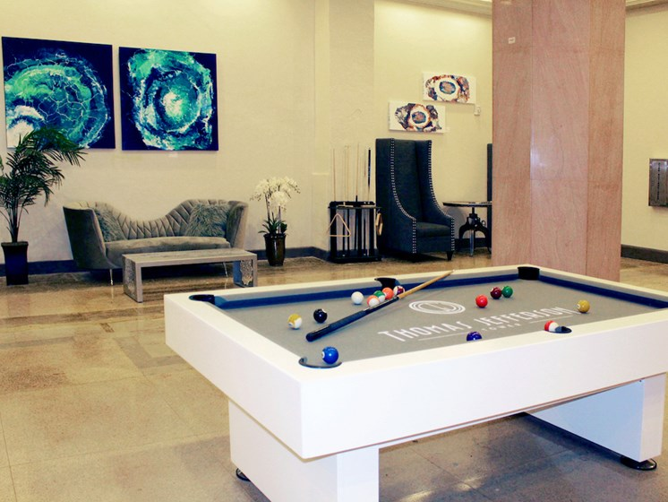 Thomas Jefferson Tower Apartments in Downtown Birmingham, AL pool table and resident lounge