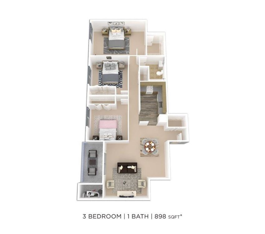3 Bedroom 1 Bath
