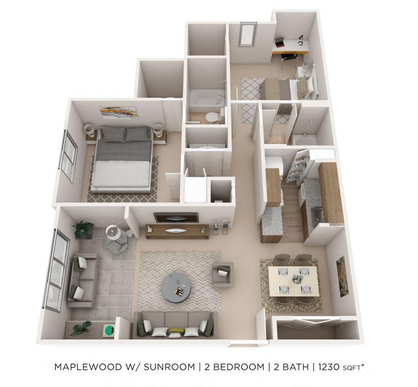 2 Bedroom 2 Bath Sunroom