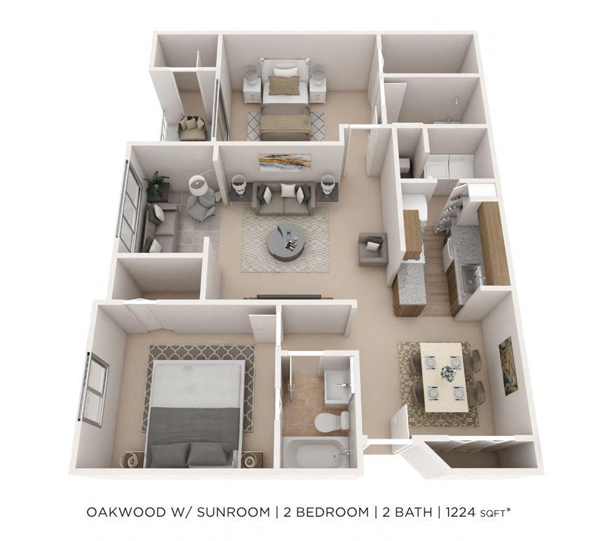 2 Bedroom 2 Bath Large Sunroom