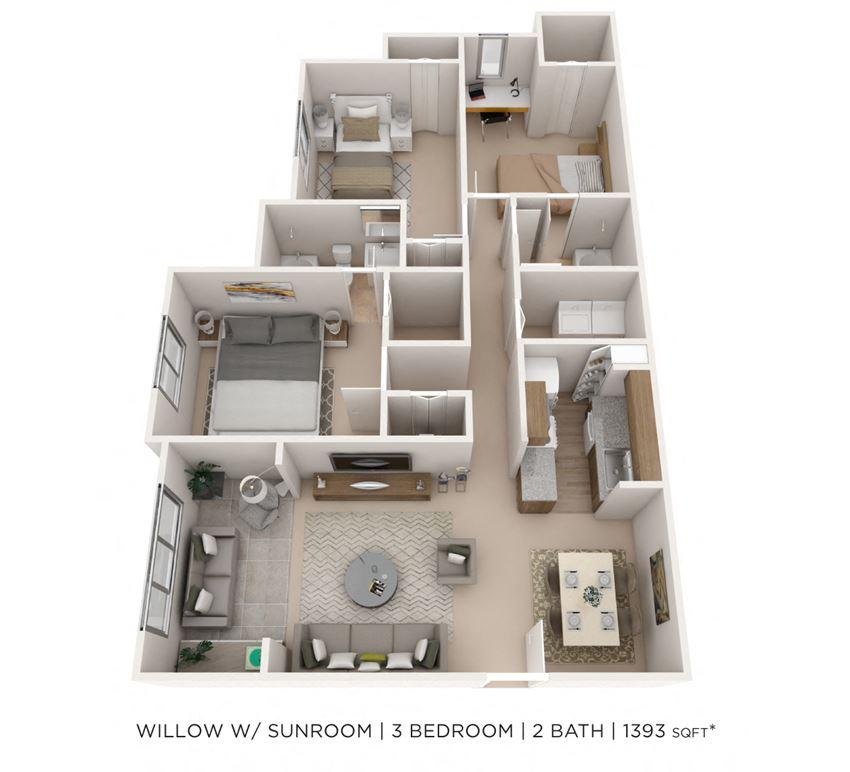 3 Bedroom 2 Bath Sunroom