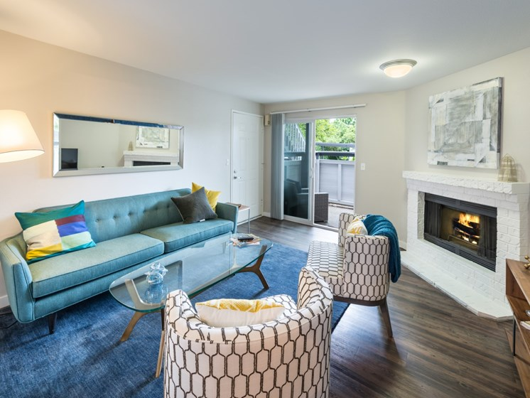 81 Fifty at West Hills Apartment Homes Portland Oregon Living Room with Sliding Door & Fireplace