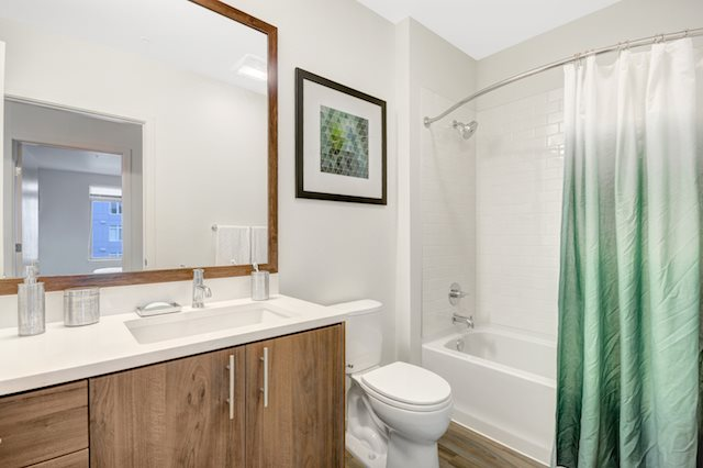 Extended vanity with custom, wood framed mirrors in each bathroom at The Whittaker