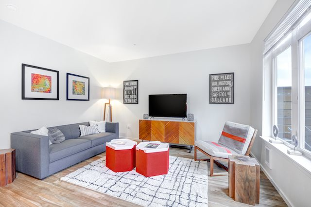 The Whittaker, Seattle, WA,98116 has Cozy Living Room With Large Windows