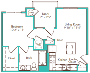 One Bedroom - Plan JB