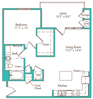 One Bedroom - Plan C