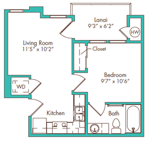 One Bedroom - Plan J