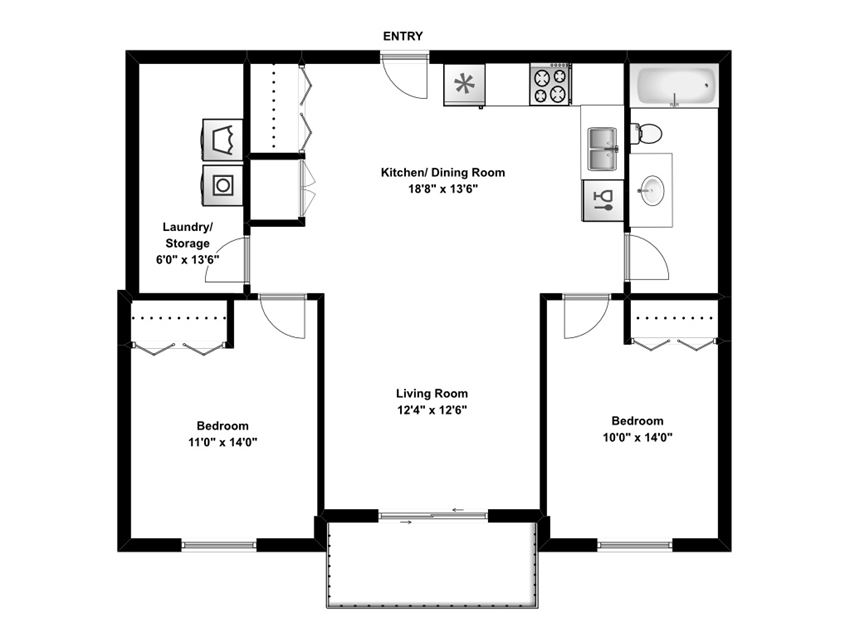 Two bedroom, one bathroom apartment layout at Sunset Valley Apartments in Edmonton, AB
