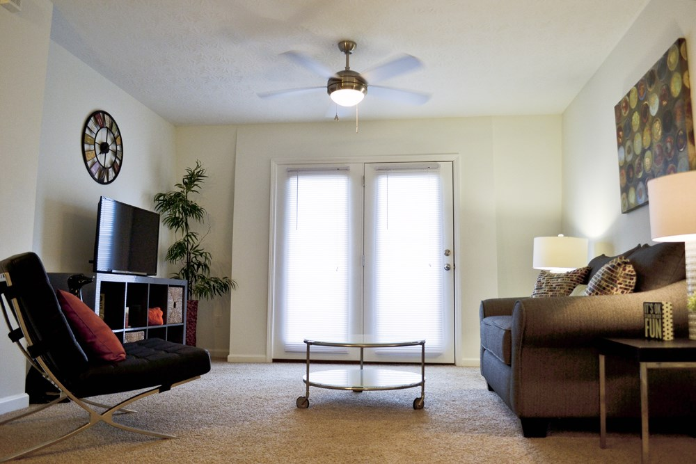 Living room with natural light at 300 at the Circle Apartments in Lexington, KY